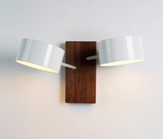 Excel Double Sconce (White/Walnut) by Roll & Hill | Wall lights