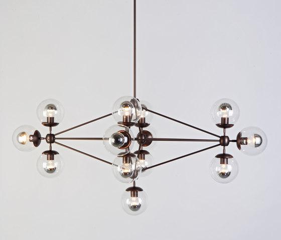 Modo Chandelier - Diamond, 13 Globes (Bronze/Clear) de Roll & Hill   Suspensions