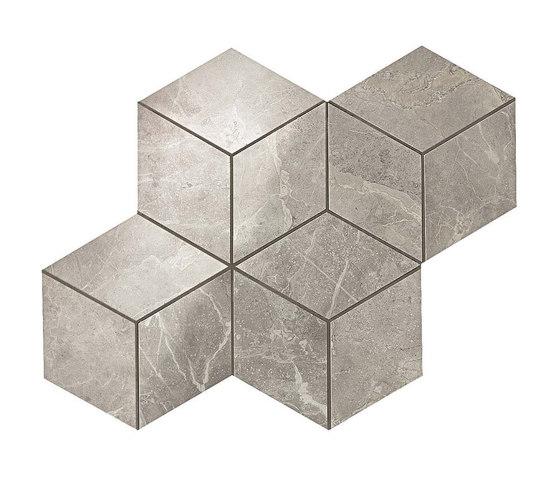 Marvel Pro Grey Fleury Mosaico Esagono shiny by Atlas Concorde | Ceramic mosaics