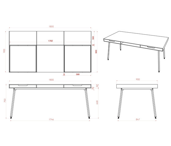 Drawers Table by MY KILOS | Dining tables