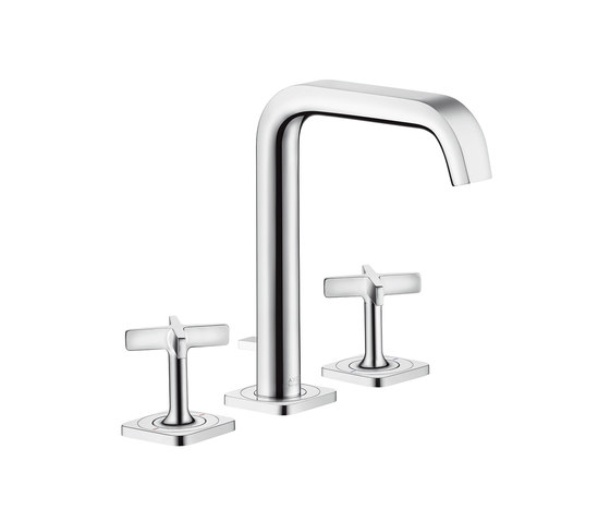 AXOR Citterio E 3-hole basin mixer with pop-up waste set and escutcheons by AXOR | Wash basin taps
