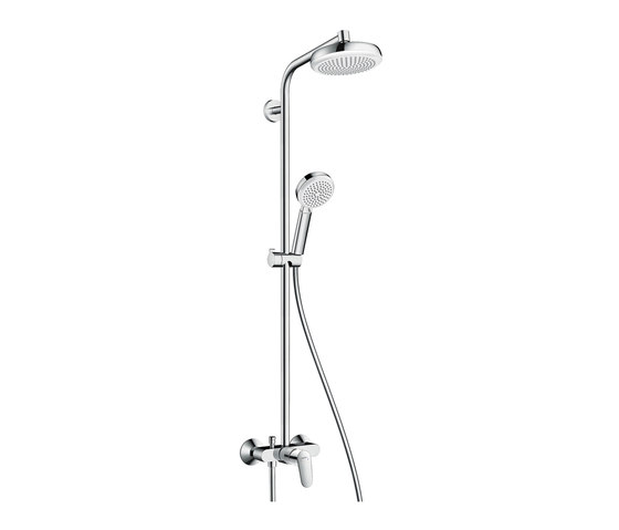 hansgrohe Crometta 160 1jet Showerpipe with single lever mixer by Hansgrohe | Shower taps / mixers