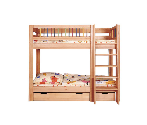 Kubu bunk bed with both upper and lower railing de De Breuyn | Camas de niños / Literas