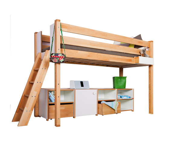 medium Loft bed with shelves de De Breuyn | Camas de niños / Literas