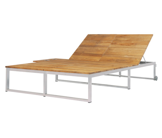 Oko Lounge double sun lounger with tray de Mamagreen | Tumbonas