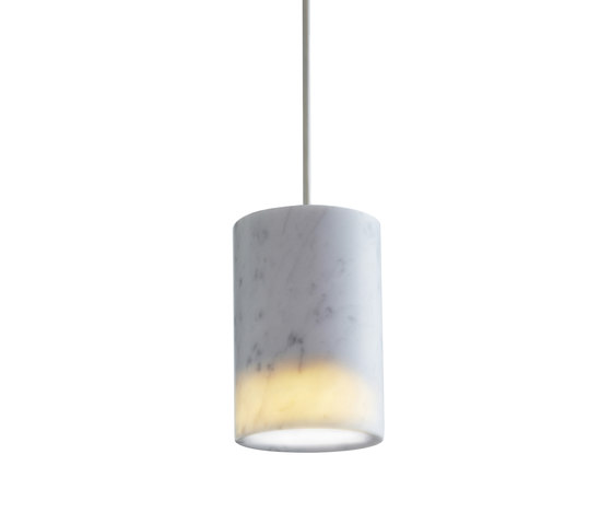 Solid | Pendant Cylinder in Carrara Marble von Terence Woodgate | Pendelleuchten