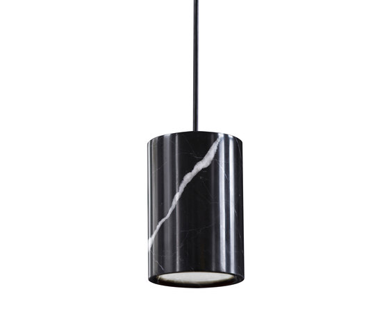 Solid | Pendant Cylinder in Nero Marquina Marble von Terence Woodgate | Pendelleuchten