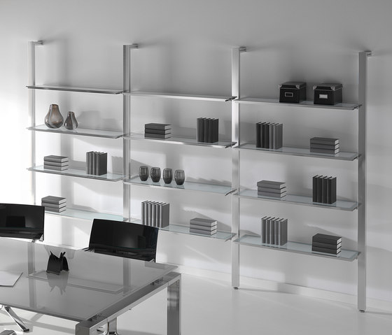 Concepto Free | Cromo | Cristal Blanco by Ofifran | Office shelving systems