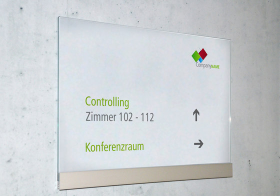 transparent Direction signs wall-mounted by Meng Informationstechnik | Room signs