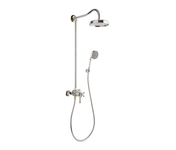 AXOR Carlton Showerpipe with thermostatic mixer and 1jet overhead shower EcoSmart 9 l/min by AXOR | Shower controls