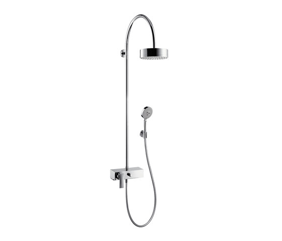 AXOR Citterio Showerpipe with single lever mixer and 1jet overhead shower EcoSmart 9 l/min by AXOR | Shower controls