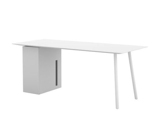 Maarten table 180x80cm with storage unit by viccarbe | Computer desks
