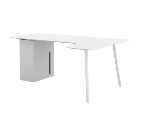 Maarten return table 180x80cm with storage unit di viccarbe | Tavoli per computer
