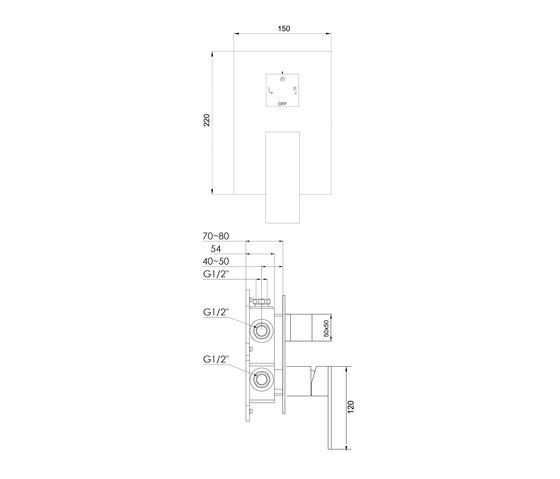 160 2202 Finish set for single lever shower mixer with integrated 3-way diverter by Steinberg | Shower controls