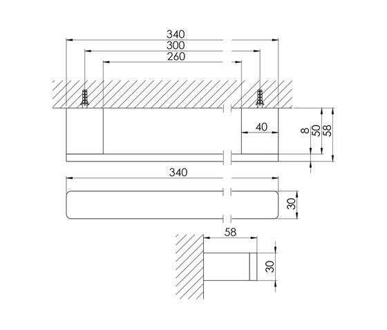 420 2630 Bath grab bar 300 mm by Steinberg | Grab rails