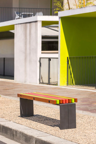 Color backless bench by Concept Urbain | Benches