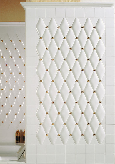 Capitonné white rounded with gold inset by Petracer's Ceramics | Ceramic tiles