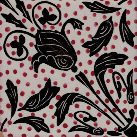 LR Fiore Nero Pois Rossi di La Riggiola   Piastrelle ceramica