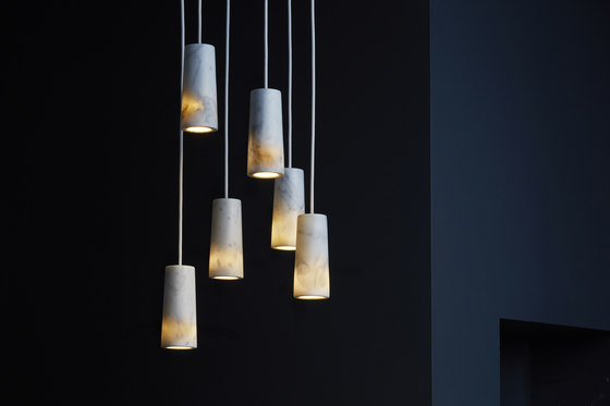 Core | Six Pendant Cluster in Carrara Marble by Terence Woodgate | Suspended lights