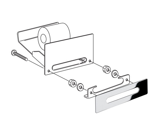 Hotellerie Built-in paper holder, for washbasin base unit by Inda   Paper roll holders