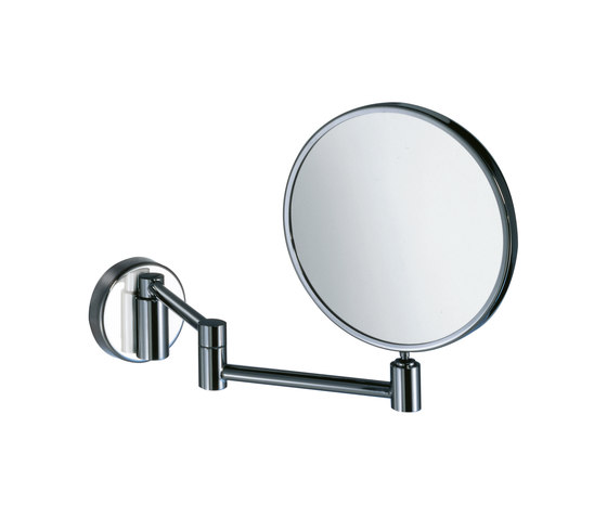 Hotellerie Wall-mounted magnifying mirror, double jointed arm, 18 cm Ø mirror by Inda | Bath mirrors