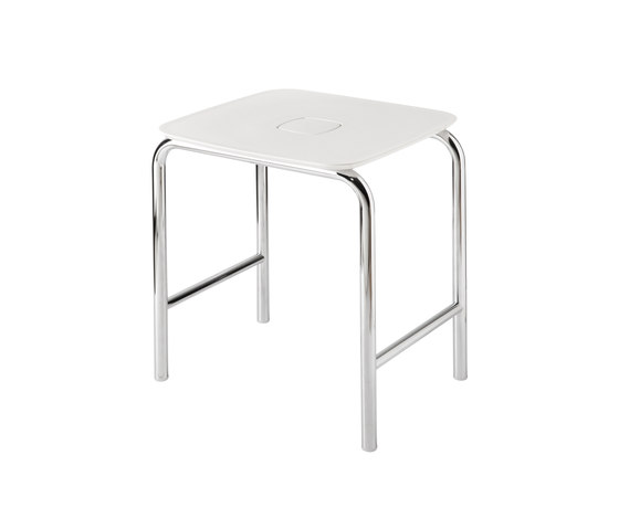 Hotellerie Stool with ABS seat, brass structure by Inda | Bath stools / benches