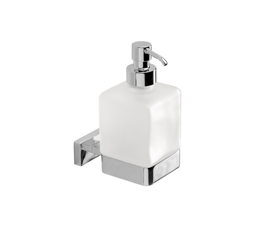 Lea Wall-mounted soap dispenser with satined glass container and chrome-plated brass pump by Inda | Soap dispensers