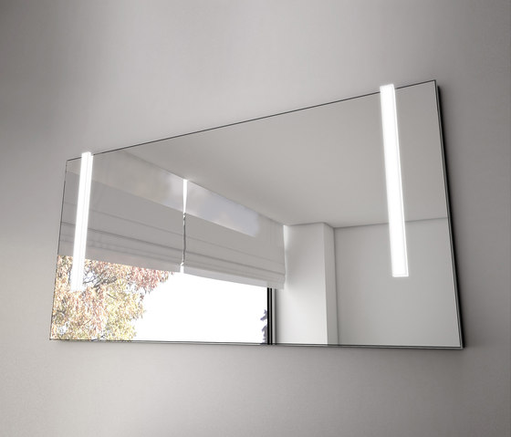 Bel | Illuminated mirror with vertical LED-light by burgbad | Mirrors