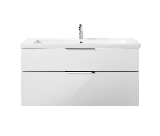 Eqio | Ceramic washbasin incl. vanity unit by burgbad | Vanity units