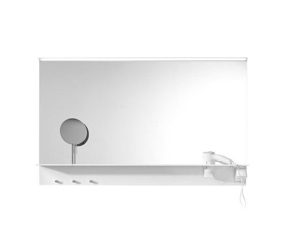 Eqio | Mirror with horizontal LED-light and shelf by burgbad | Bath shelves