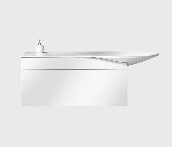 Pli | Mineral cast washbasin incl. vanity unit by burgbad | Vanity units