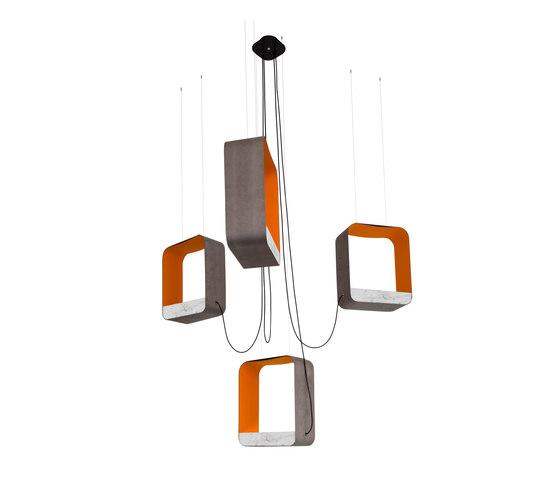 Eau de lumière Lustre 4 Grand Carré de designheure | Éclairage général