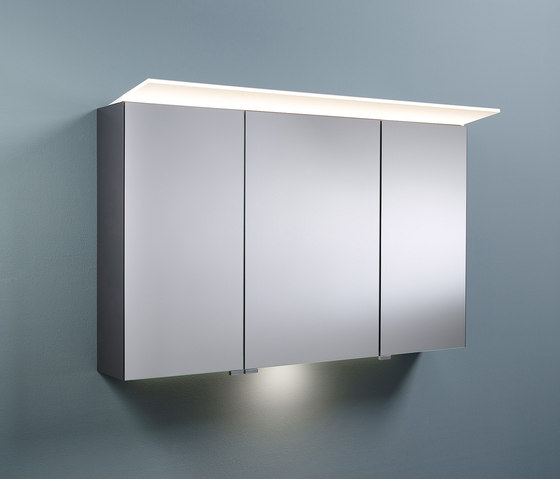 Sys30   Mirror cabinet with horizontal lighting and indirect lighting of washbasin by burgbad   Wall cabinets