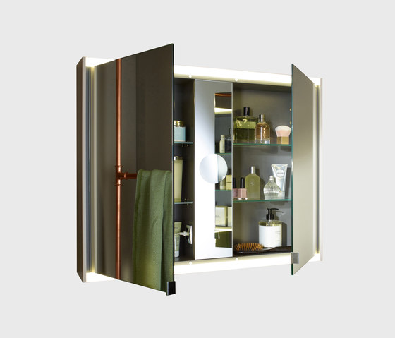 Yso | Mirror cabinet with horizontal LED-lighting by burgbad | Wall cabinets