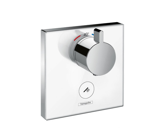 Hansgrohe ShowerSelect glass thermostatic mixer highflow for concealed installation for 1 outlet and additional outlet by Hansgrohe | Shower taps / mixers