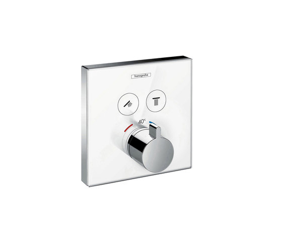 hansgrohe ShowerSelect Glas Thermostatic mixer for concealed installation for 2 outlets by Hansgrohe | Shower controls