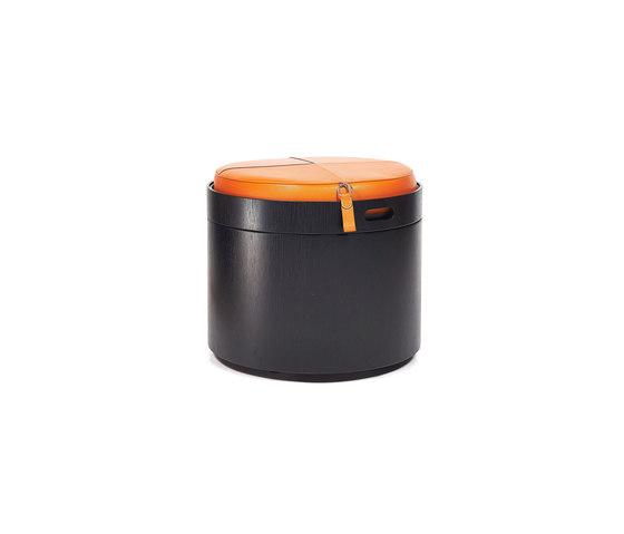 Stoll 50 – Oak Stained with orange calf leather cushion von Wildspirit | Behälter / Boxen