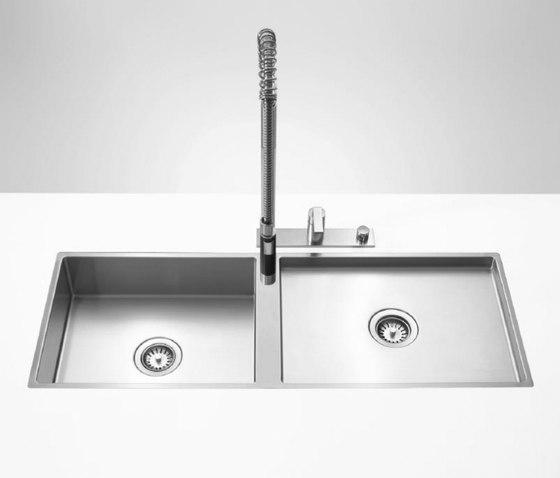 Kitchen sinks in brushed stainless-steel - Double sink by Dornbracht   Kitchen sinks