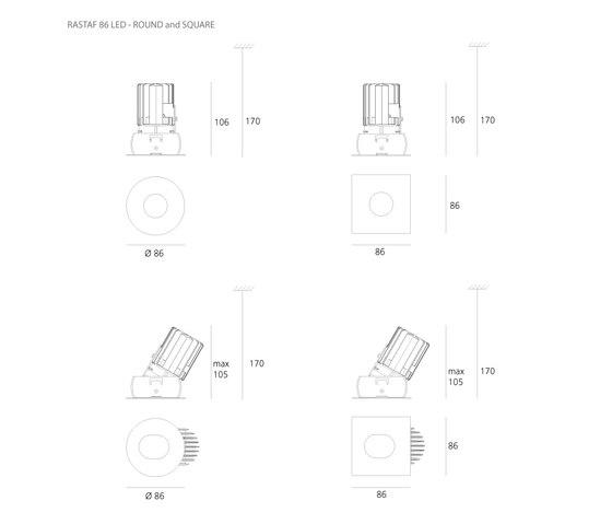 Rastaf LED 86 di Artemide Architectural | Lampade soffitto incasso