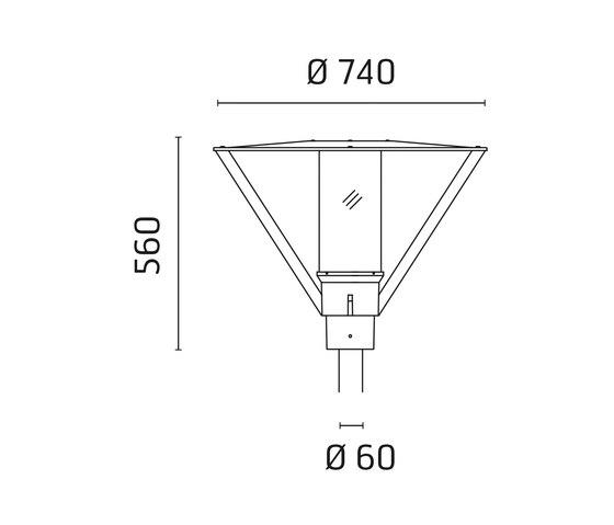 Andrea / Pole Ø 60mm - Opal (inside) Acrylic Diffuser di Ares | Lampade outdoor parete