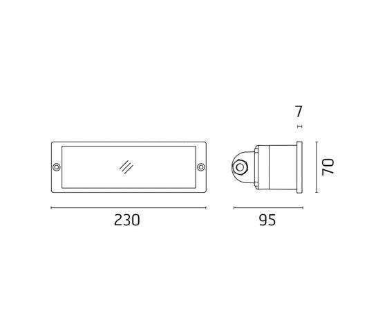 Camillla / L 230 mm - Vetro Sabbiato di Ares | Lampade outdoor parete