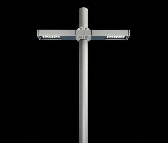 Dooku 400 Power LED / Pole Ø 102mm - Double Top Pole - Wide Beam 120° (Wide Spaces - Public Areas - Parking Areas) von Ares | Außen Bodenleuchten