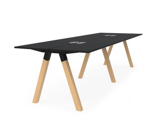 Frankie bench desk high wooden A-leg 90cm de Martela | Mesas altas