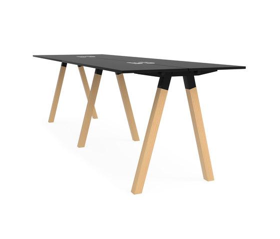 Frankie bench desk high wooden A-leg 110cm de Martela | Tables multimédia