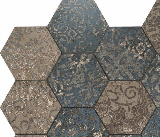 Mosaico Esagona dek steel by Ceramiche Supergres   Ceramic mosaics