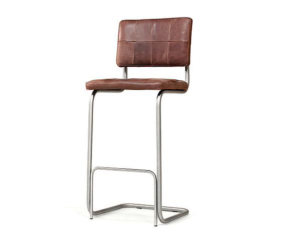 Nelson brushed stainless steel barstool without arms by Jess | Bar stools