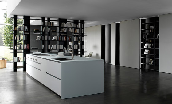 Blade 7 white glass Island de Modulnova | Cocinas integrales