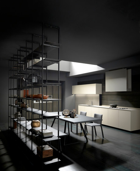 Mh6 1 linear kitchen in Beige melamine de Modulnova | Cocinas integrales