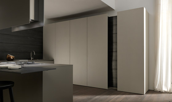 Mh6 3 corner kitchen in Cendre melamine by Modulnova | Fitted kitchens