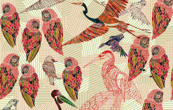 PENCIL BIRDS di Wall&decò | Carta parati / tappezzeria